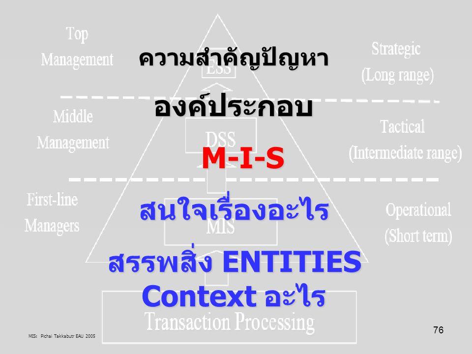 MIS: Pichai Takkabutr EAU 2005 76 ความสำคัญปัญหาองค์ประกอบ M-I-S M-I-Sสนใจเรื่องอะไร สรรพสิ่ง ENTITIES Context อะไร