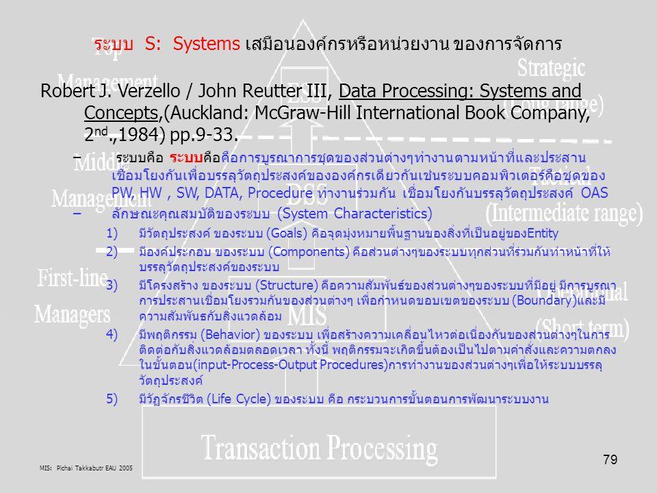 MIS: Pichai Takkabutr EAU 2005 79 ระบบ S: Systems เสมือนองค์กรหรือหน่วยงาน ของการจัดการ Robert J. Verzello / John Reutter III, Data Processing: System