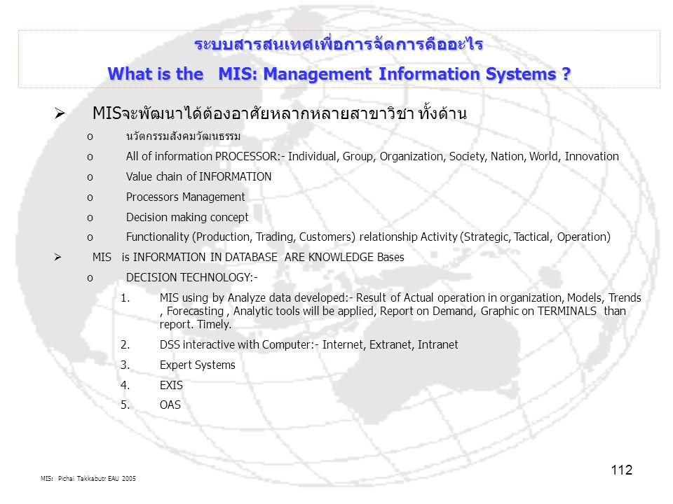 MIS: Pichai Takkabutr EAU 2005 112 ระบบสารสนเทศเพื่อการจัดการคืออะไร What is the MIS: Management Information Systems ?  MISจะพัฒนาได้ต้องอาศัยหลากหลา