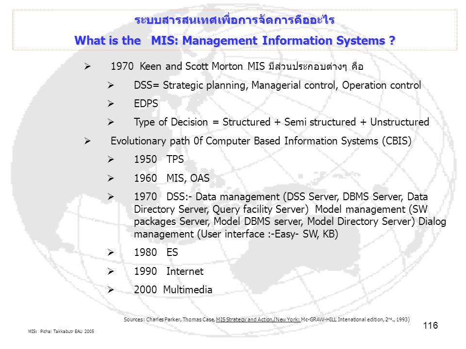 MIS: Pichai Takkabutr EAU 2005 116 ระบบสารสนเทศเพื่อการจัดการคืออะไร What is the MIS: Management Information Systems ?  1970 Keen and Scott Morton MI