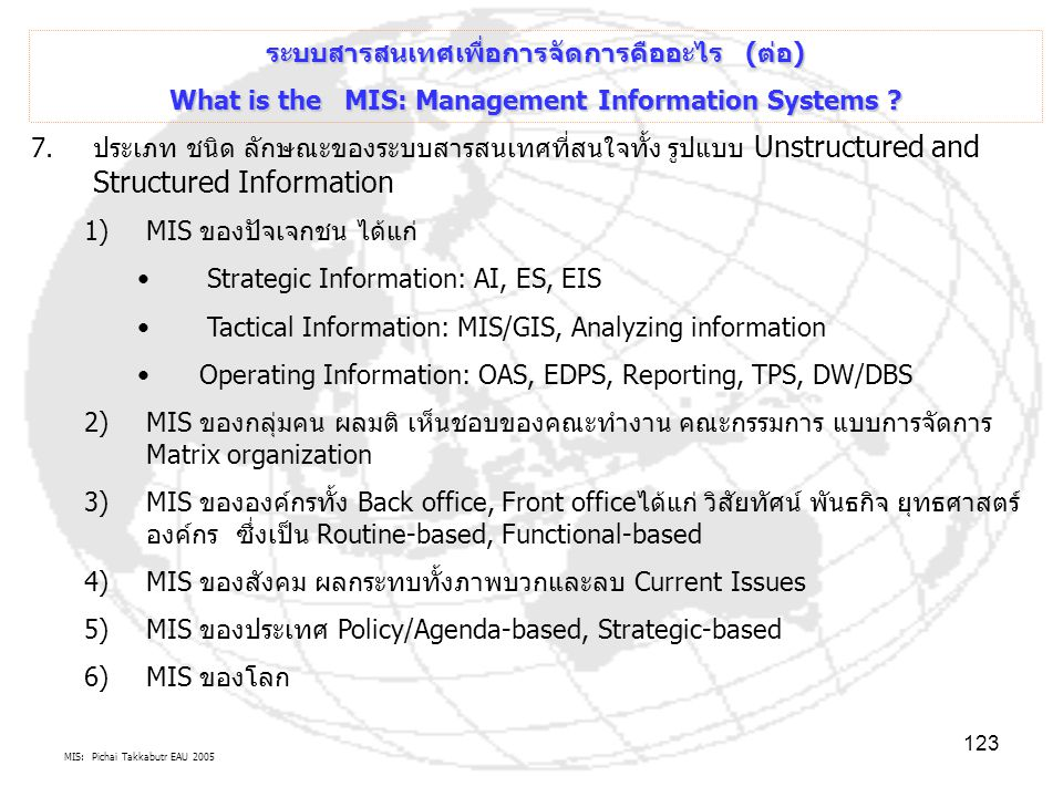 MIS: Pichai Takkabutr EAU 2005 123 ระบบสารสนเทศเพื่อการจัดการคืออะไร (ต่อ) What is the MIS: Management Information Systems ? 7.ประเภท ชนิด ลักษณะของระ