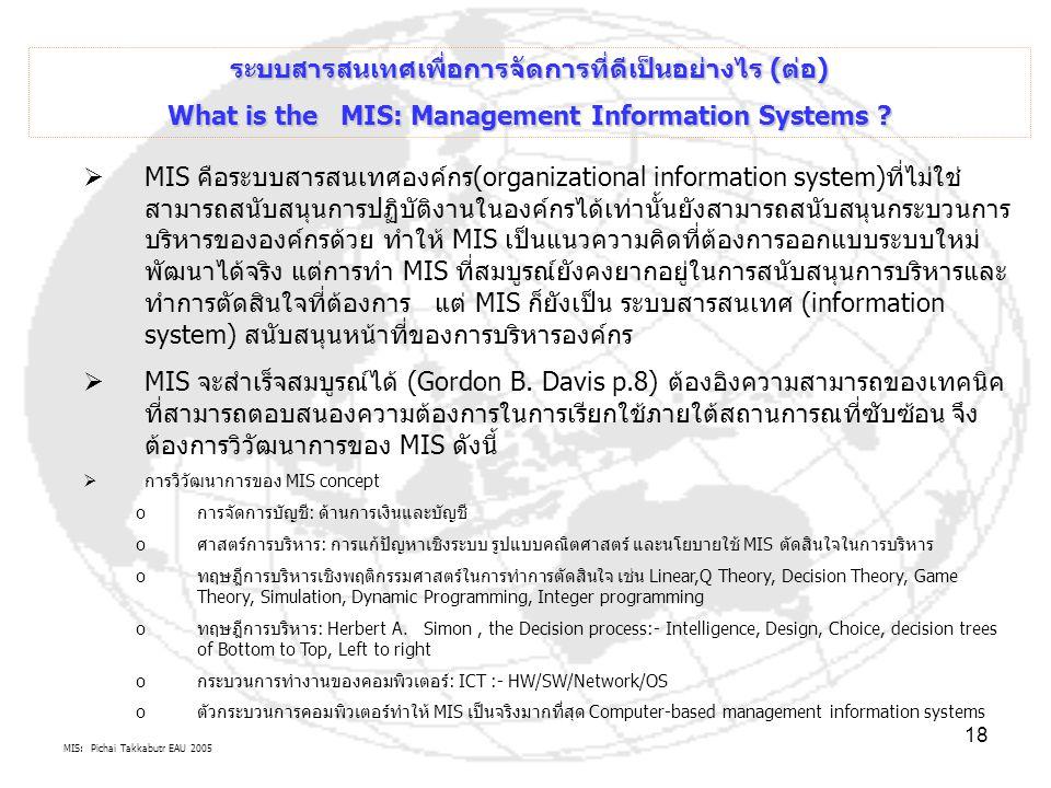 MIS: Pichai Takkabutr EAU 2005 18  MIS คือระบบสารสนเทศองค์กร(organizational information system)ที่ไม่ใช่ สามารถสนับสนุนการปฏิบัติงานในองค์กรได้เท่านั
