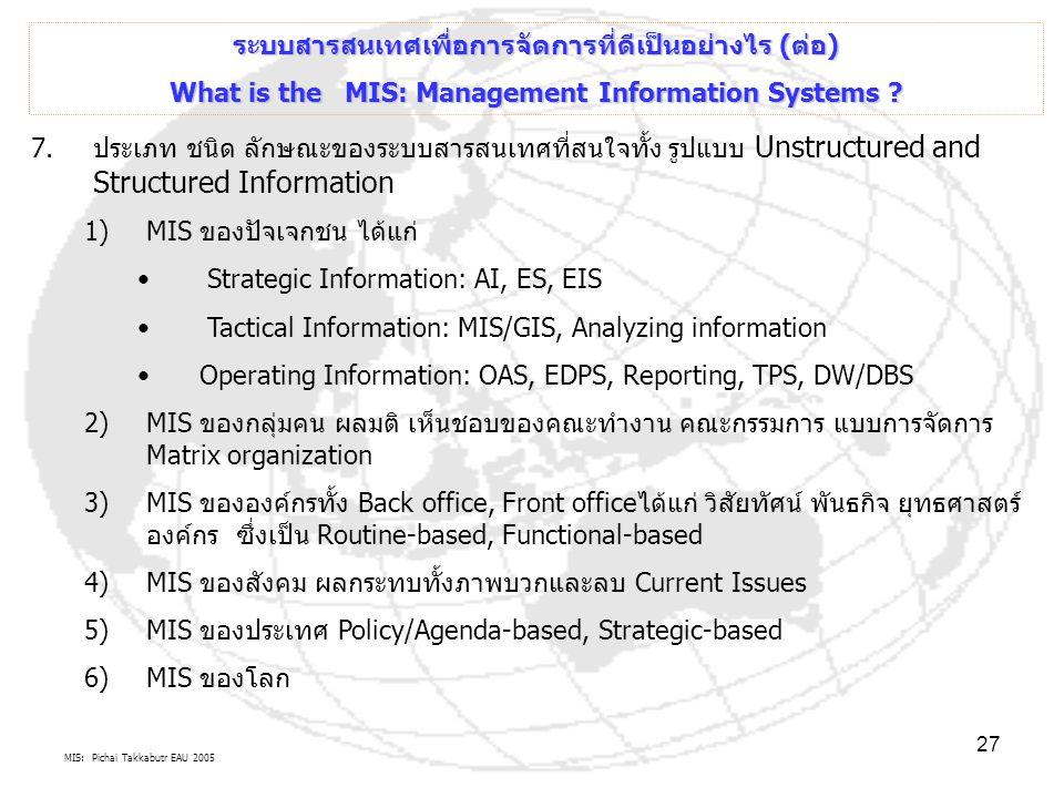 MIS: Pichai Takkabutr EAU 2005 27 7.ประเภท ชนิด ลักษณะของระบบสารสนเทศที่สนใจทั้ง รูปแบบ Unstructured and Structured Information 1)MIS ของปัจเจกชน ได้แ
