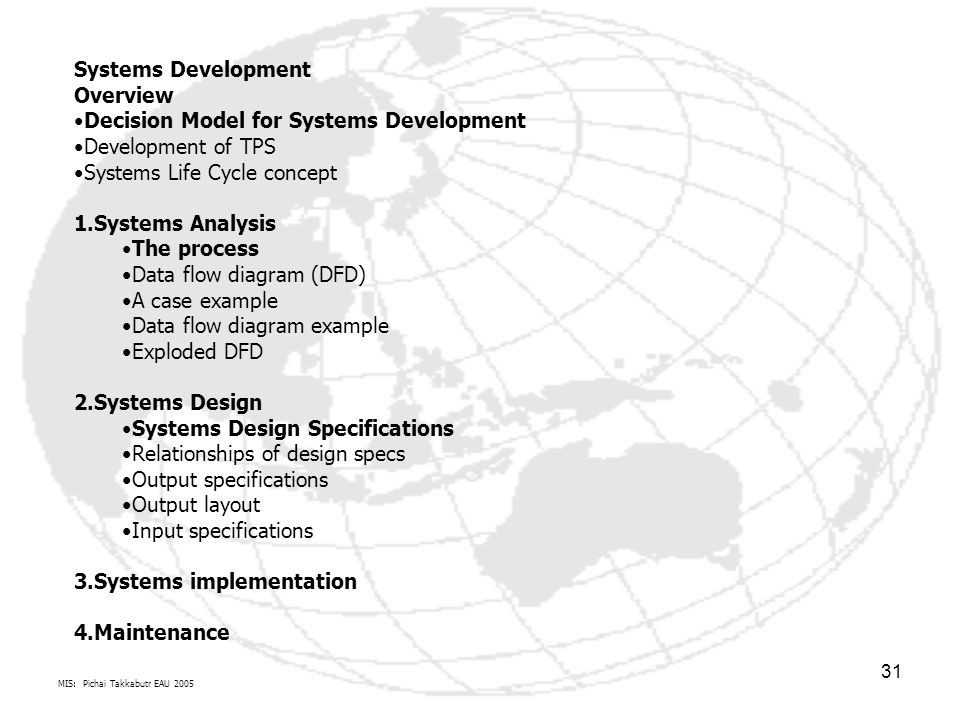 MIS: Pichai Takkabutr EAU 2005 31 Systems Development Overview Decision Model for Systems Development Development of TPS Systems Life Cycle concept 1.Systems Analysis The process Data flow diagram (DFD) A case example Data flow diagram example Exploded DFD 2.Systems Design Systems Design Specifications Relationships of design specs Output specifications Output layout Input specifications 3.Systems implementation 4.Maintenance
