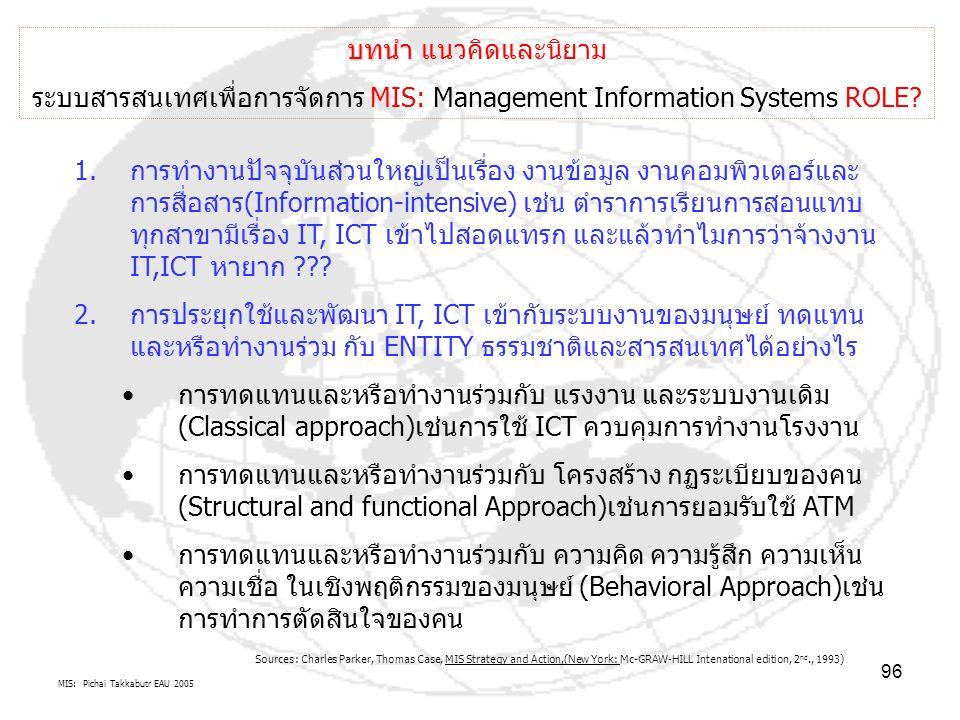 MIS: Pichai Takkabutr EAU 2005 96 บทนำ บทนำ แนวคิดและนิยาม ระบบสารสนเทศเพื่อการจัดการ MIS: Management Information Systems ROLE? 1.การทำงานปัจจุบันส่วน