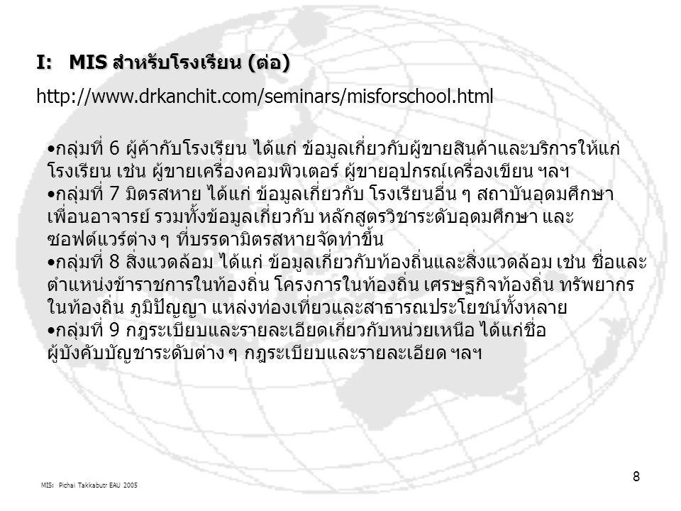 MIS: Pichai Takkabutr EAU 2005 8 I: MIS สำหรับโรงเรียน (ต่อ) http://www.drkanchit.com/seminars/misforschool.html กลุ่มที่ 6 ผู้ค้ากับโรงเรียน ได้แก่ ข้อมูลเกี่ยวกับผู้ขายสินค้าและบริการให้แก่ โรงเรียน เช่น ผู้ขายเครื่องคอมพิวเตอร์ ผู้ขายอุปกรณ์เครื่องเขียน ฯลฯ กลุ่มที่ 7 มิตรสหาย ได้แก่ ข้อมูลเกี่ยวกับ โรงเรียนอื่น ๆ สถาบันอุดมศึกษา เพื่อนอาจารย์ รวมทั้งข้อมูลเกี่ยวกับ หลักสูตรวิชาระดับอุดมศึกษา และ ซอฟต์แวร์ต่าง ๆ ที่บรรดามิตรสหายจัดทำขึ้น กลุ่มที่ 8 สิ่งแวดล้อม ได้แก่ ข้อมูลเกี่ยวกับท้องถิ่นและสิ่งแวดล้อม เช่น ชื่อและ ตำแหน่งข้าราชการในท้องถิ่น โครงการในท้องถิ่น เศรษฐกิจท้องถิ่น ทรัพยากร ในท้องถิ่น ภูมิปัญญา แหล่งท่องเที่ยวและสาธารณประโยชน์ทั้งหลาย กลุ่มที่ 9 กฎระเบียบและรายละเอียดเกี่ยวกับหน่วยเหนือ ได้แก่ชื่อ ผู้บังคับบัญชาระดับต่าง ๆ กฎระเบียบและรายละเอียด ฯลฯ