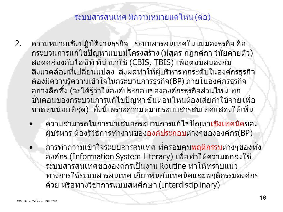 MIS: Pichai Takkabutr EAU 2005 16 ระบบสารสนเทศ มีความหมายแค่ไหน (ต่อ) 2.ความหมายเชิงปฏิบัติงานธุรกิจ ระบบสารสนเทศในมุมมองธุรกิจ คือ กระบวนการแก้ไขปัญห