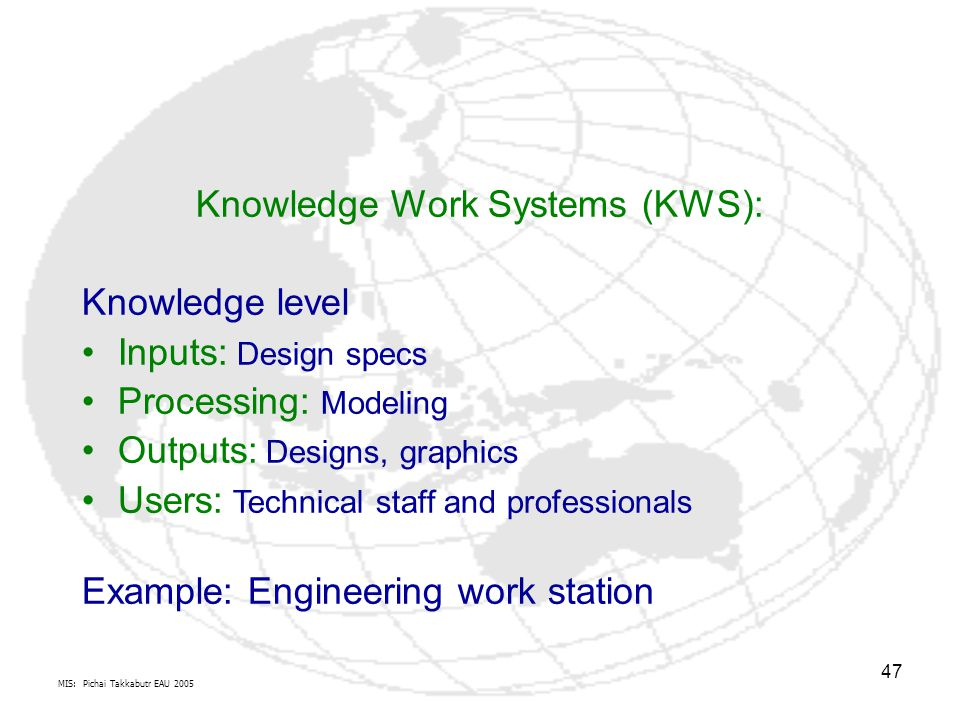 MIS: Pichai Takkabutr EAU 2005 47 Knowledge Work Systems (KWS): Knowledge level Inputs: Design specs Processing: Modeling Outputs: Designs, graphics U