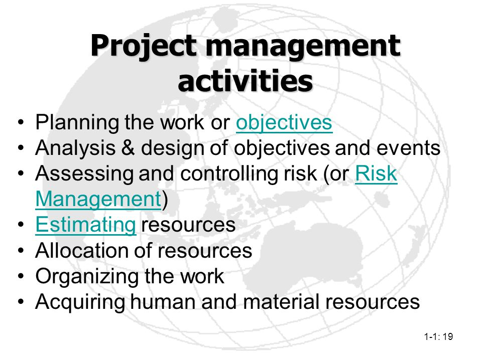 1-1: 19 Planning the work or objectivesobjectives Analysis & design of objectives and events Assessing and controlling risk (or Risk Management)Risk M