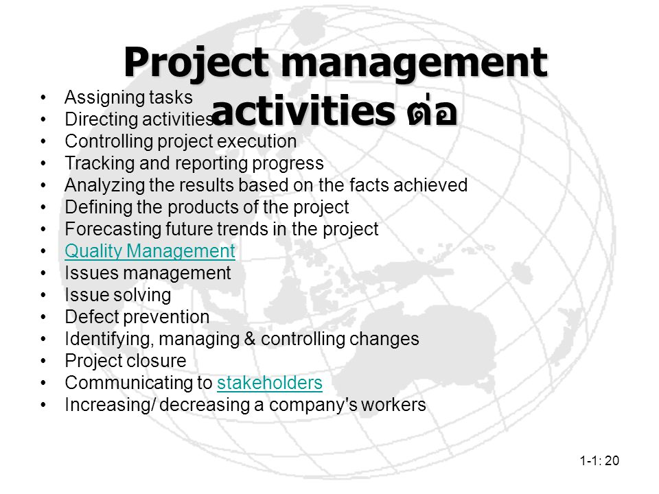 1-1: 20 Assigning tasks Directing activities Controlling project execution Tracking and reporting progress Analyzing the results based on the facts ac