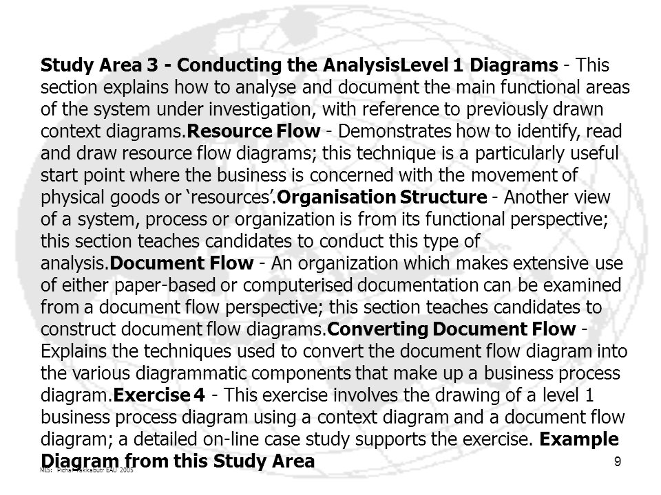MIS: Pichai Takkabutr EAU 2005 9 Study Area 3 - Conducting the AnalysisLevel 1 Diagrams - This section explains how to analyse and document the main functional areas of the system under investigation, with reference to previously drawn context diagrams.Resource Flow - Demonstrates how to identify, read and draw resource flow diagrams; this technique is a particularly useful start point where the business is concerned with the movement of physical goods or 'resources'.Organisation Structure - Another view of a system, process or organization is from its functional perspective; this section teaches candidates to conduct this type of analysis.Document Flow - An organization which makes extensive use of either paper-based or computerised documentation can be examined from a document flow perspective; this section teaches candidates to construct document flow diagrams.Converting Document Flow - Explains the techniques used to convert the document flow diagram into the various diagrammatic components that make up a business process diagram.Exercise 4 - This exercise involves the drawing of a level 1 business process diagram using a context diagram and a document flow diagram; a detailed on-line case study supports the exercise.