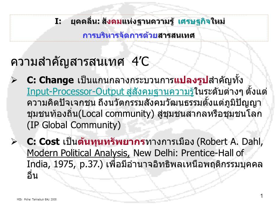 MIS: Pichai Takkabutr EAU 2005 1 I: ยุคคลื่น: สังคมแห่งฐานความรู้ เศรษฐกิจใหม่ I: ยุคคลื่น: สังคมแห่งฐานความรู้ เศรษฐกิจใหม่ การบริหารจัดการด้วยสารสนเทศ ความสำคัญสารสนเทศ 4'C  C: Change เป็นแกนกลางกระบวนการแปลงรูปสำคัญทั้ง Input-Processor-Output สู่สังคมฐานความรู้ในระดับต่างๆ ตั้งแต่ ความคิดปัจเจกชน ถึงนวัตกรรมสังคมวัฒนธรรมตั้งแต่ภูมิปัญญา ชุมชนท้องถิ่น(Local community) สู่ชุมชนสากลหรือชุมชนโลก (IP Global Community) Input-Processor-Output สู่สังคมฐานความรู้  C: Cost เป็นต้นทุนทรัพยากรทางการเมือง (Robert A.