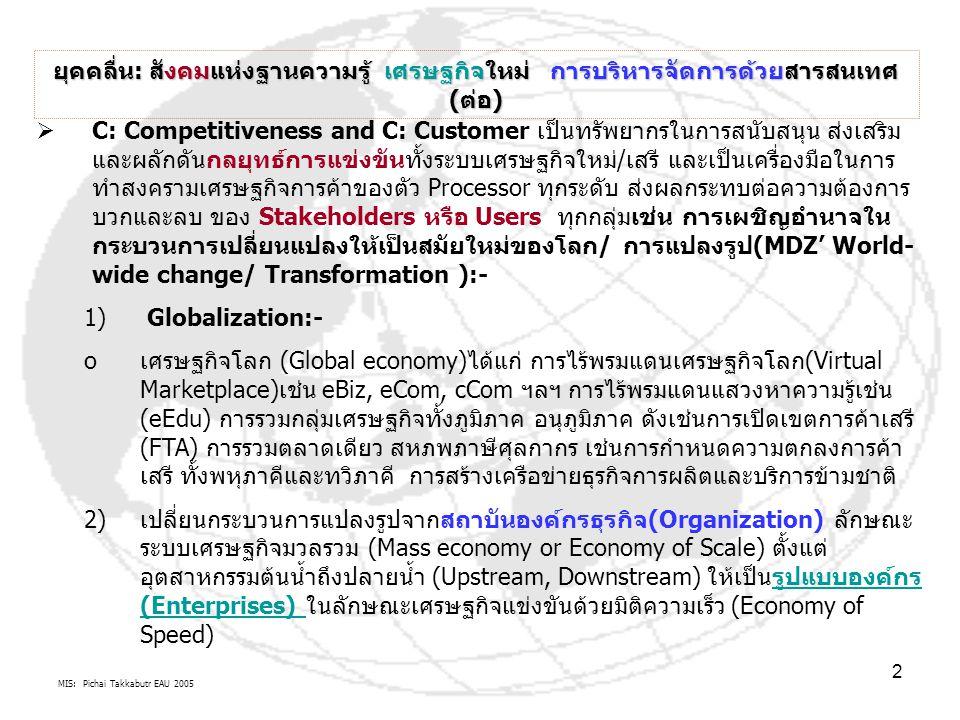 MIS: Pichai Takkabutr EAU 2005 2 ยุคคลื่น: สังคมแห่งฐานความรู้ เศรษฐกิจใหม่ การบริหารจัดการด้วยสารสนเทศ (ต่อ)  C: Competitiveness and C: Customer เป็นทรัพยากรในการสนับสนุน ส่งเสริม และผลักดันกลยุทธ์การแข่งขันทั้งระบบเศรษฐกิจใหม่/เสรี และเป็นเครื่องมือในการ ทำสงครามเศรษฐกิจการค้าของตัว Processor ทุกระดับ ส่งผลกระทบต่อความต้องการ บวกและลบ ของ Stakeholders หรือ Users ทุกกลุ่มเช่น การเผชิญอำนาจใน กระบวนการเปลี่ยนแปลงให้เป็นสมัยใหม่ของโลก/ การแปลงรูป(MDZ' World- wide change/ Transformation ):- 1) Globalization:- oเศรษฐกิจโลก (Global economy)ได้แก่ การไร้พรมแดนเศรษฐกิจโลก(Virtual Marketplace)เช่น eBiz, eCom, cCom ฯลฯ การไร้พรมแดนแสวงหาความรู้เช่น (eEdu) การรวมกลุ่มเศรษฐกิจทั้งภูมิภาค อนุภูมิภาค ดังเช่นการเปิดเขตการค้าเสรี (FTA) การรวมตลาดเดียว สหภพภาษีศุลกากร เช่นการกำหนดความตกลงการค้า เสรี ทั้งพหุภาคีและทวิภาคี การสร้างเครือข่ายธุรกิจการผลิตและบริการข้ามชาติ 2)เปลี่ยนกระบวนการแปลงรูปจากสถาบันองค์กรธุรกิจ(Organization) ลักษณะ ระบบเศรษฐกิจมวลรวม (Mass economy or Economy of Scale) ตั้งแต่ อุตสาหกรรมต้นน้ำถึงปลายน้ำ (Upstream, Downstream) ให้เป็นรูปแบบองค์กร (Enterprises) ในลักษณะเศรษฐกิจแข่งขันด้วยมิติความเร็ว (Economy of Speed)รูปแบบองค์กร (Enterprises)