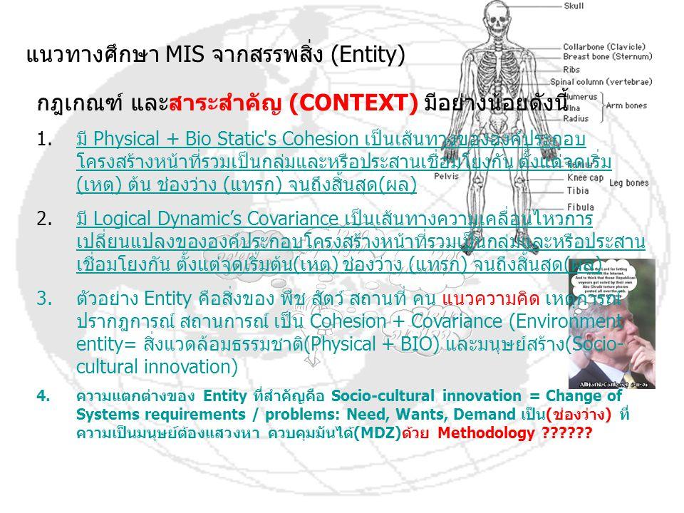 แนวทางศึกษา MIS จากสรรพสิ่ง (Entity) กฎเกณฑ์ และสาระสำคัญ (CONTEXT) มีอย่างน้อยดังนี้ 1.มี Physical + Bio Static's Cohesion เป็นเส้นทางขององค์ประกอบ โ