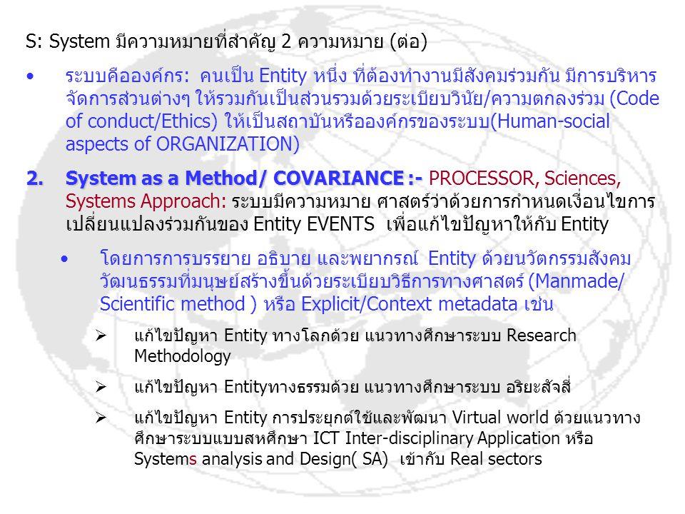 โจทย์ตัวอย่าง System as ENTITY, as METHOD 1.ระบบ เป็น Entity / Cohesion ได้แก่ สิ่งของ พืช สัตว์ คน 2.ระบบเป็น Method / Covariance ได้แก่ แนวความคิด เหตุการณ์ สถานการณ์ ปรากฎการณ์ ที่จับต้องได้และจับต้องไม่ได้ สามารถจับต้อง ได้ ด้วย Scientific Method: Measurement by digitized, analog หรือ Measurement by quantitative method and qualitative method เช่นคำตอบ รถ เป็นสิ่งของ ต้นไม้เป็นพืช เกิดเหตุการณ์ รถชนต้นไม้ กลายเป็นระบบอุบัติเหตุรถชนต้นไม้ จับ ต้องได้ด้วยการวัดและแจงนับด้วย Systems Approach by EVENTS สามารถอธิบายด้วย Covariance เรื่อง Entity รถ และ Entity ต้นไม้ Entity คอมพิวเตอร์เป็นสิ่งของ(Cohesion) Entity คนเป็นคน (Cohesion) เกิดการใช้คอมพิวเตอร์ทำวิทยานิพนธ์เรื่อง A/C Application EVENTS by SA Covariance ทำให้ความหมายระบบคือ A/C Application