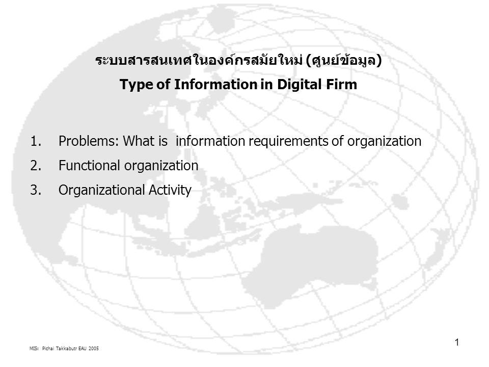 MIS: Pichai Takkabutr EAU 2005 2 ความหมาย IS=MIS โครงสร้างระบบสารสนเทศ หรือ MIS ขององค์กรดิจิตอล (ศูนย์ข้อมูลดิจิตอล) ประกอบด้วยระบบย่อยขององค์กรดิจิตอล ระบบย่อยที่ 1 ส่วนประกอบการปฏิบัติงานองค์กรอัตโนมัติ คือโครงสร้างพื้นฐานระบบสารสนเทศ CBIS, TBIS มีระบบการทำงาน I-P-O ของ Data warehouse, Data base, Network (Internet, Intranet, Extranet) : ความหมาย MIS แง่เทคนิค หรือผู้ผลิต MIS (MIS Supplier chain) ระบบย่อยที่ 2 ส่วนประกอบการทำหน้าที่ขององค์กร คือโครงสร้างระบบสารสนเทศ ตาม บทบาทอำนาจหน้าที่ ความรับผิดชอบขององค์กร ตามแนวนอน :-Manufacturing, Logistics, Finance, Accounting, HRD, Sales and Marketingเช่น MIS of MCBA, ERP, FIS, AIS, PIS ความหมาย MIS แง่ผู้ใช้ หรือ ลูกค้า MIS (MIS Demand chain) ระบบย่อยที่ 3 ส่วนประกอบการสนับสนุนการตัดสินใจ คือโครงสร้างระบบสารสนเทศ สนับสนุนการตัดสินใจแก้ไขปัญหา :- Unstructured, Structured, Semi structured problems ความหมาย MIS แง่ ส่งเสริม สนับสนุน ผลักดันการตัดสินใจองค์กร โระบบย่อยที่ 3 ส่วนประกอบด้านการบริหารกิจกรรมองค์กร คือ โครงสร้างระบบสารสนเทศ ด้านกิจกรรมการบริหารองค์กร :- Strategic level, Tactical/Management level, Knowledge level, Operational levelความหมาย MIS ของผู้บริหาร ระบบย่อยที่ 3 ส่วนประกอบการบูรณาการการจัดการองค์กร คือ โครงสร้างระบบสารสนเทศเพื่อการจัดการความหมาย MIS สากล CBIS, TBIS Business Core of Organization And Types of IS