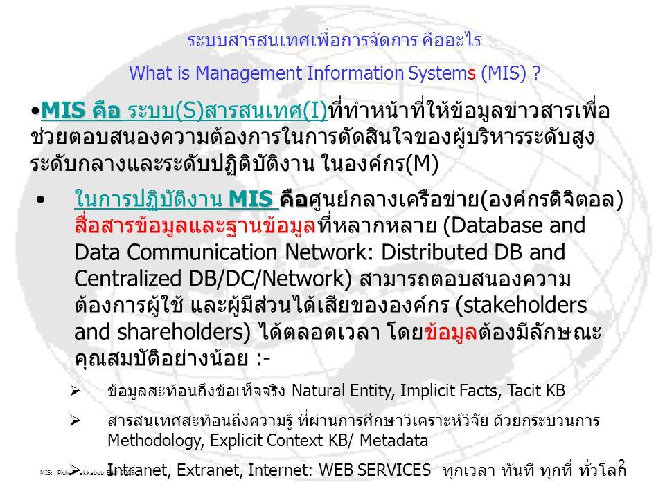 MIS: Pichai Takkabutr EAU 2005 2 MIS คือMIS คือ ระบบ(S)สารสนเทศ(I)ที่ทำหน้าที่ให้ข้อมูลข่าวสารเพื่อ ช่วยตอบสนองความต้องการในการตัดสินใจของผู้บริหารระด