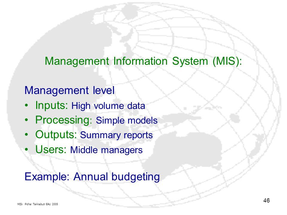 MIS: Pichai Takkabutr EAU 2005 46 Management Information System (MIS): Management level Inputs: High volume data Processing : Simple models Outputs: S