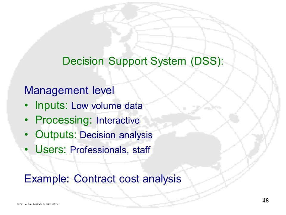 MIS: Pichai Takkabutr EAU 2005 48 Decision Support System (DSS): Management level Inputs: Low volume data Processing: Interactive Outputs: Decision an