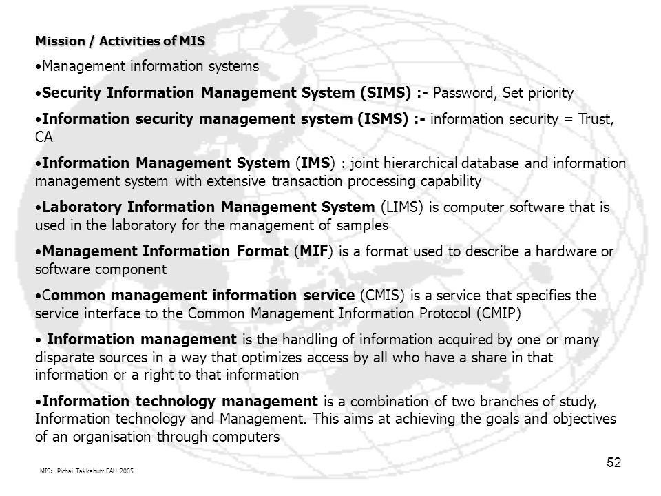 MIS: Pichai Takkabutr EAU 2005 52 Mission / Activities of MIS Management information systems Security Information Management System (SIMS) :- Password