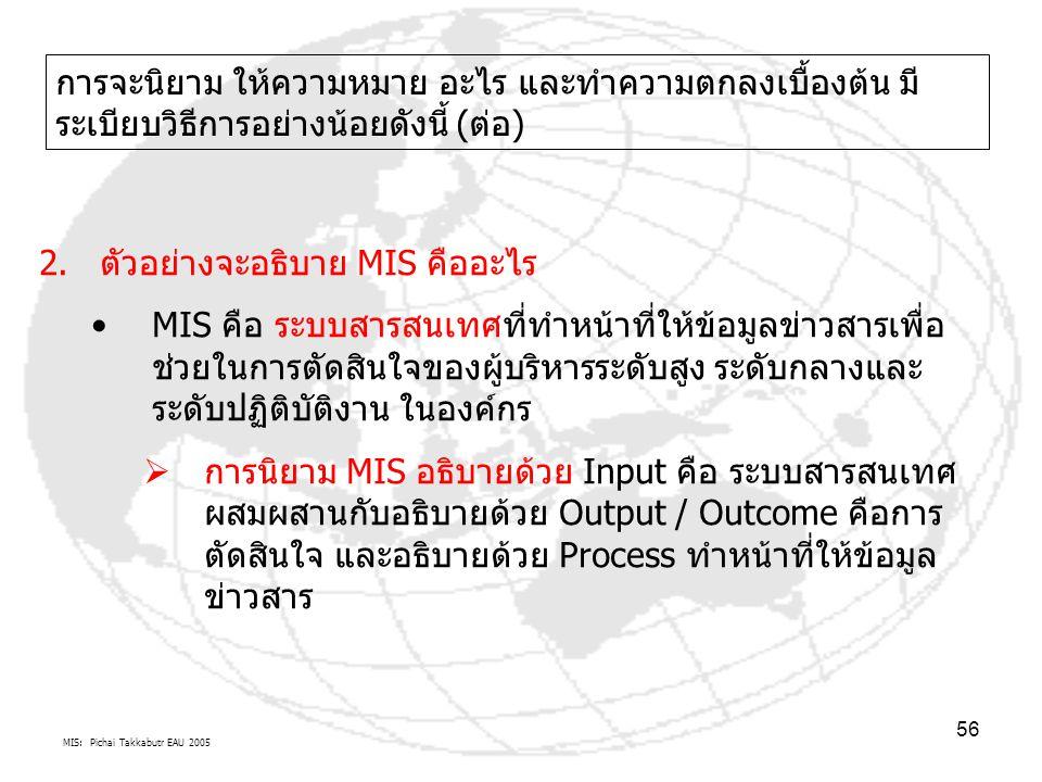MIS: Pichai Takkabutr EAU 2005 56 การจะนิยาม ให้ความหมาย อะไร และทำความตกลงเบื้องต้น มี ระเบียบวิธีการอย่างน้อยดังนี้ (ต่อ) 2.ตัวอย่างจะอธิบาย MIS คือ