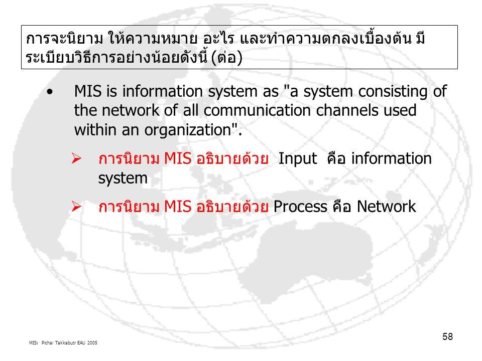 MIS: Pichai Takkabutr EAU 2005 58 การจะนิยาม ให้ความหมาย อะไร และทำความตกลงเบื้องต้น มี ระเบียบวิธีการอย่างน้อยดังนี้ (ต่อ) MIS is information system
