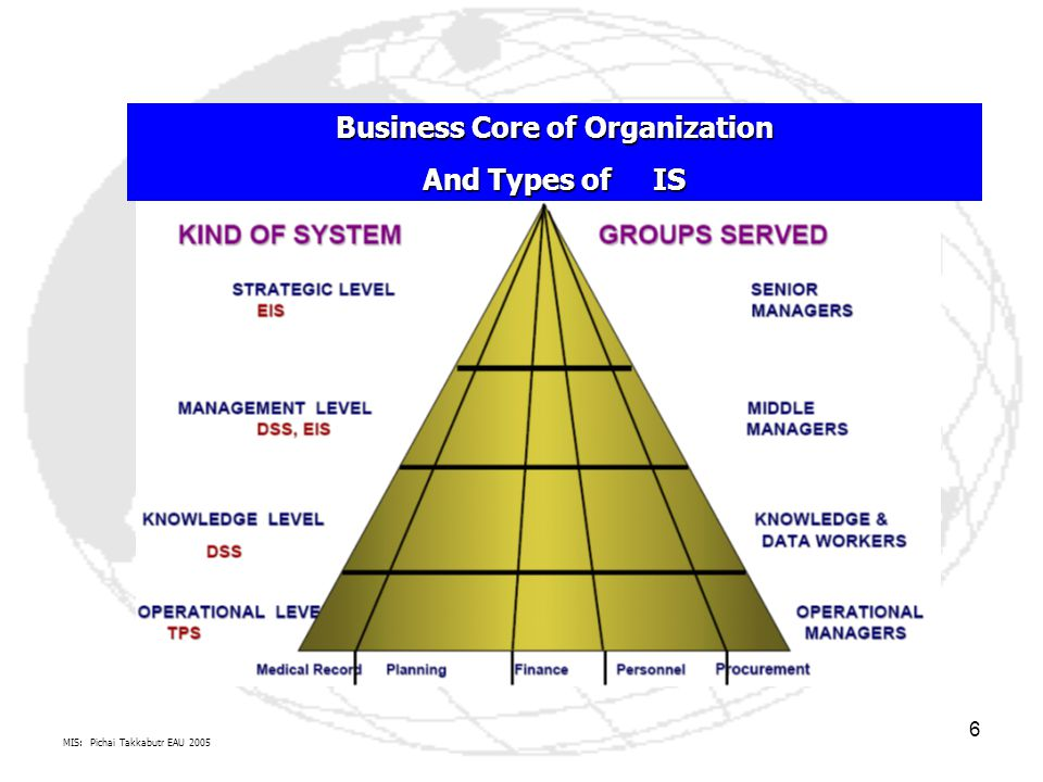 MIS: Pichai Takkabutr EAU 2005 6 Business Core of Organization And Types of IS