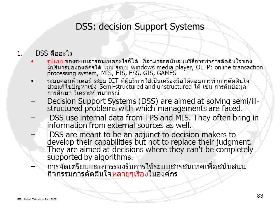 MIS: Pichai Takkabutr EAU 2005 83 DSS: decision Support Systems 1.DSS คืออะไร รูปแบบของระบบสารสนเทศอะไรก็ได้ ที่สามารถสนับสนุนวิธีการทำการตัดสินใจของ