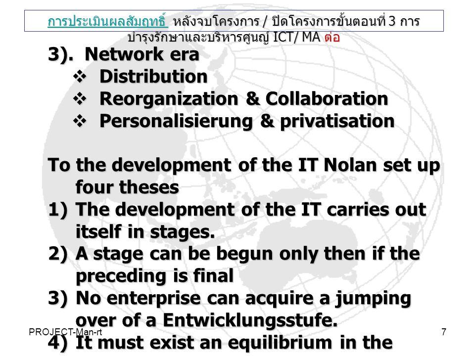 PROJECT-Man-rt7 3). Network era  Distribution  Reorganization & Collaboration  Personalisierung & privatisation To the development of the IT Nolan