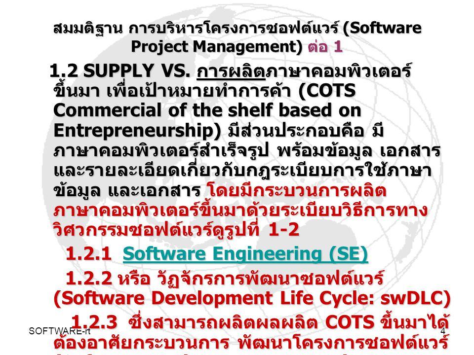 SOFTWARE-rt4 สมมติฐาน การบริหารโครงการซอฟต์แวร์ (Software Project Management) ต่อ 1 1.2 SUPPLY VS. การผลิตภาษาคอมพิวเตอร์ ขึ้นมา เพื่อเป้าหมายทำการค้า