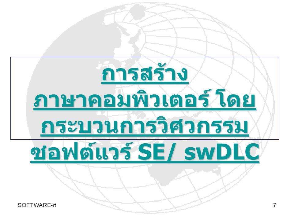 SOFTWARE-rt7 การสร้าง ภาษาคอมพิวเตอร์ โดย กระบวนการวิศวกรรม ซอฟต์แวร์ SE/ swDLC การสร้าง ภาษาคอมพิวเตอร์ โดย กระบวนการวิศวกรรม ซอฟต์แวร์ SE/ swDLC