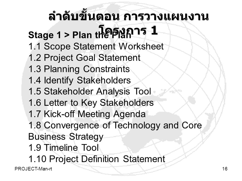 PROJECT-Man-rt16 Stage 1 > Plan the Plan 1.1 Scope Statement Worksheet 1.2 Project Goal Statement 1.3 Planning Constraints 1.4 Identify Stakeholders 1.5 Stakeholder Analysis Tool 1.6 Letter to Key Stakeholders 1.7 Kick-off Meeting Agenda 1.8 Convergence of Technology and Core Business Strategy 1.9 Timeline Tool 1.10 Project Definition Statement ลำดับขั้นตอน การวางแผนงาน โครงการ 1
