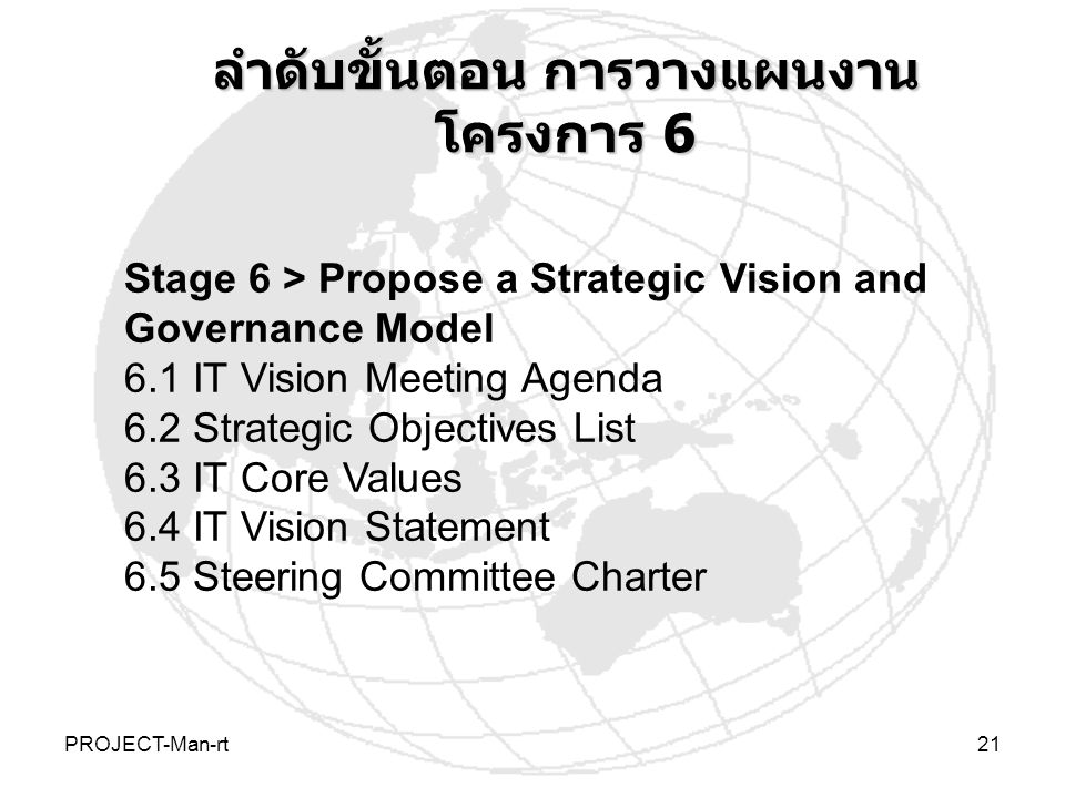 PROJECT-Man-rt21 Stage 6 > Propose a Strategic Vision and Governance Model 6.1 IT Vision Meeting Agenda 6.2 Strategic Objectives List 6.3 IT Core Values 6.4 IT Vision Statement 6.5 Steering Committee Charter ลำดับขั้นตอน การวางแผนงาน โครงการ 6