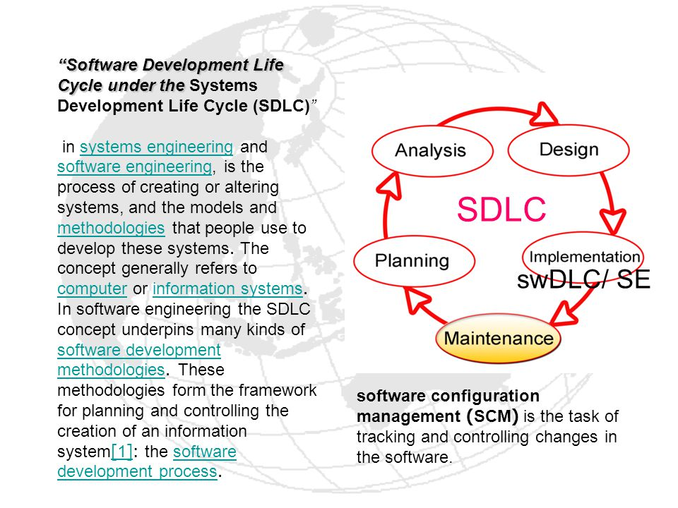 A software development methodology or system development methodology in software engineering is a framework that is used to structure, plan, and control the process of developing an information system.software engineeringprocess of developinginformation system lifecycle for software, set of outcomes The ISO 12207 standard establishes a process of lifecycle for software, including processes and activities applied during the acquisition and configuration of the services of the system.