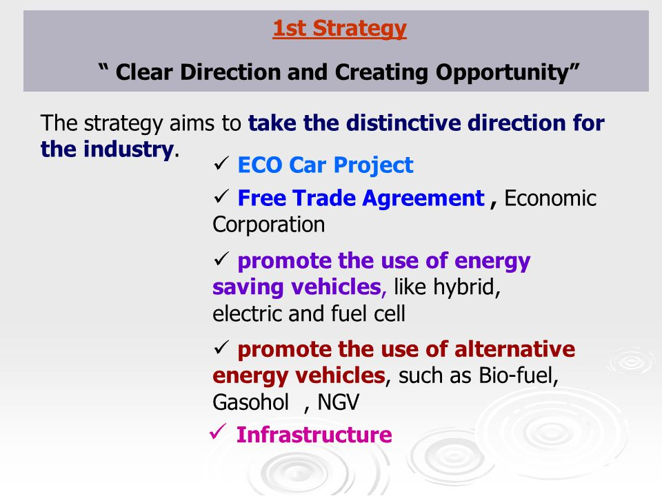 "1st Strategy "" Clear Direction and Creating Opportunity"" The strategy aims to take the distinctive direction for the industry. promote the use of alte"