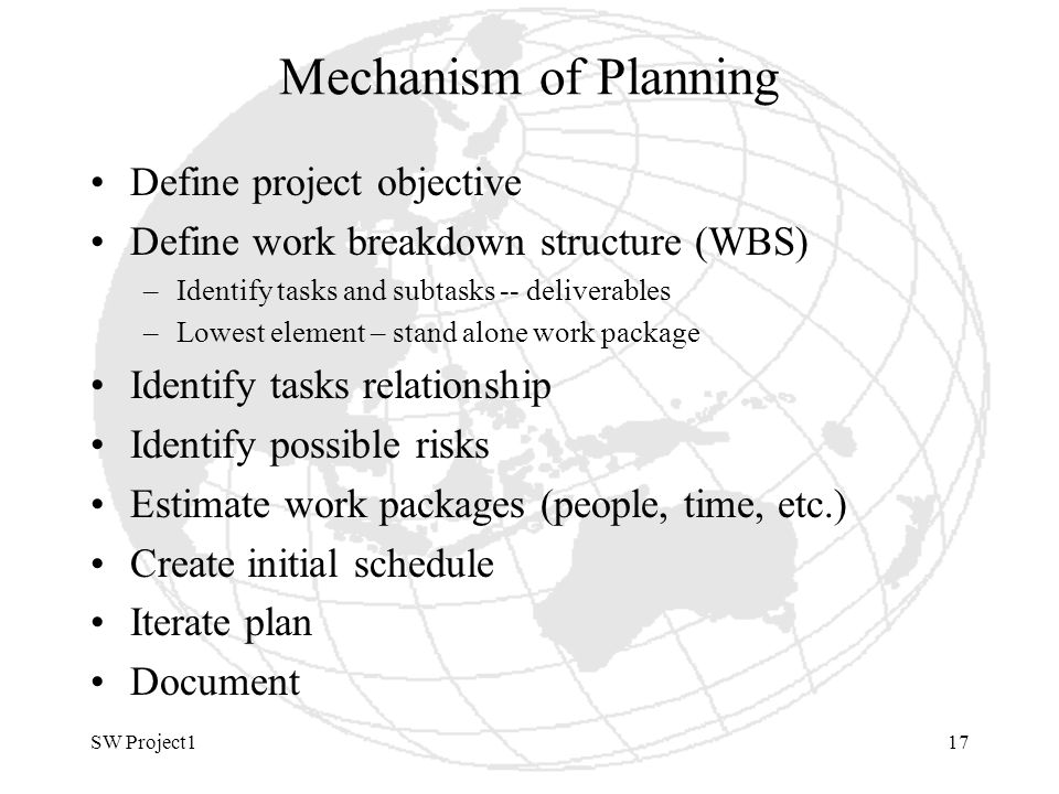SW Project117 Mechanism of Planning Define project objective Define work breakdown structure (WBS) –Identify tasks and subtasks -- deliverables –Lowest element – stand alone work package Identify tasks relationship Identify possible risks Estimate work packages (people, time, etc.) Create initial schedule Iterate plan Document