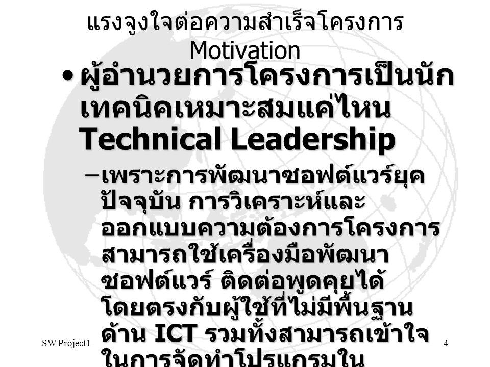 SW Project14 แรงจูงใจต่อความสำเร็จโครงการ Motivation ผู้อำนวยการโครงการเป็นนัก เทคนิคเหมาะสมแค่ไหน Technical Leadership ผู้อำนวยการโครงการเป็นนัก เทคน