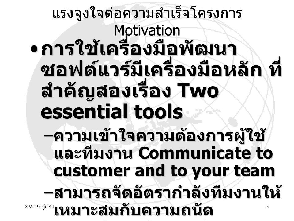 SW Project15 แรงจูงใจต่อความสำเร็จโครงการ Motivation การใช้เครื่องมือพัฒนา ซอฟต์แวร์มีเครื่องมือหลัก ที่ สำคัญสองเรื่อง Two essential tools การใช้เครื