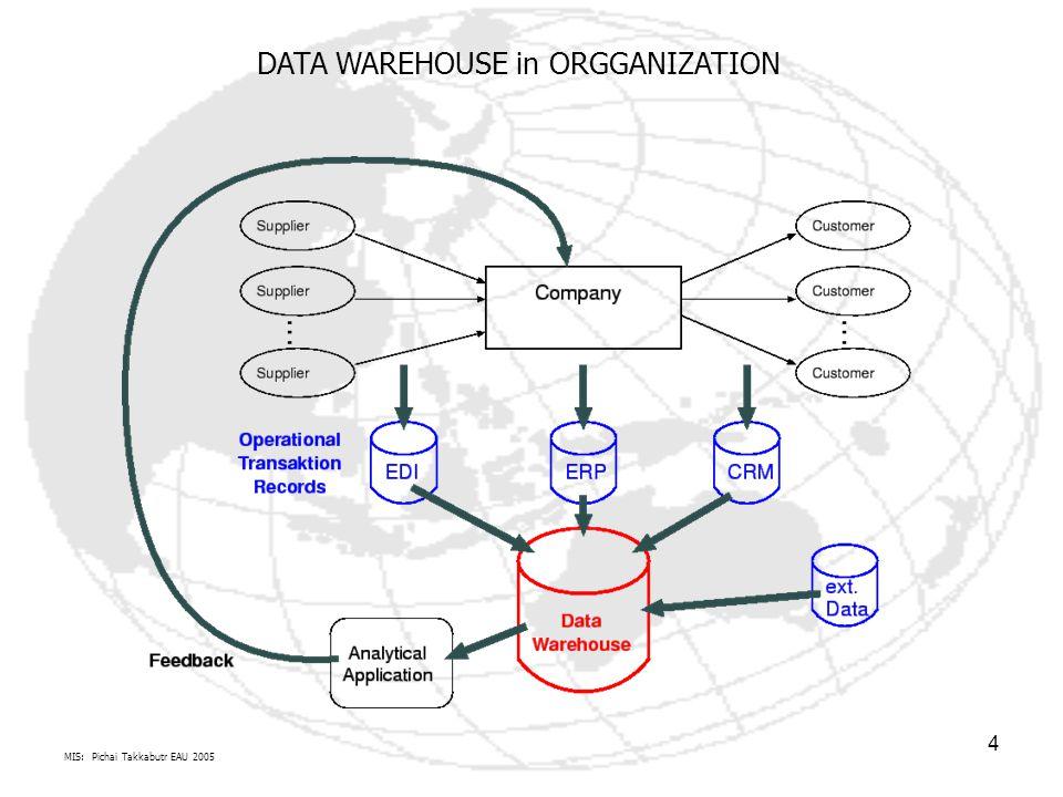 MIS: Pichai Takkabutr EAU 2005 5 Physical Structure of Data Warehouses