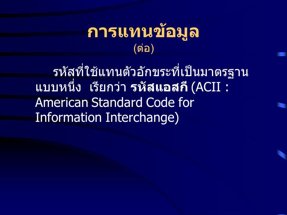 การแทนข้อมูล ( ต่อ ) รหัสที่ใช้แทนตัวอักขระที่เป็นมาตรฐาน แบบหนึ่ง เรียกว่า รหัสแอสกี (ACII : American Standard Code for Information Interchange)
