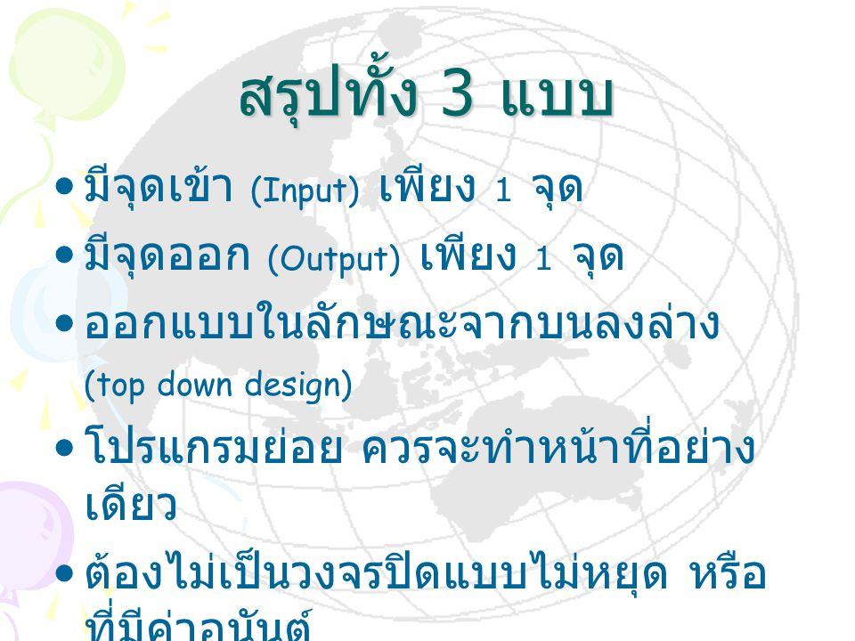 สรุปทั้ง 3 แบบ มีจุดเข้า (Input) เพียง 1 จุด มีจุดออก (Output) เพียง 1 จุด ออกแบบในลักษณะจากบนลงล่าง (top down design) โปรแกรมย่อย ควรจะทำหน้าที่อย่าง
