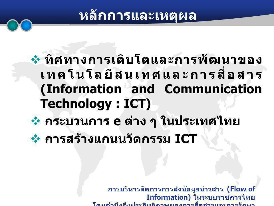 การบริหารจัดการการส่งข้อมูลข่าวสาร (Flow of Information) ในระบบราชการไทย โดยคำนึงถึงประสิทธิภาพของการสื่อสารและการรักษา ความปลอดภัย หลักการและเหตุผล  ทิศทางการเติบโตและการพัฒนาของ เทคโนโลยีสนเทศและการสื่อสาร (Information and Communication Technology : ICT)  กระบวนการ e ต่าง ๆ ในประเทศไทย  การสร้างแกนนวัตกรรม ICT