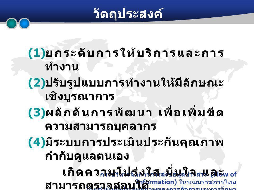 การบริหารจัดการการส่งข้อมูลข่าวสาร (Flow of Information) ในระบบราชการไทย โดยคำนึงถึงประสิทธิภาพของการสื่อสารและการรักษา ความปลอดภัย วัตถุประสงค์ (1) ยกระดับการให้บริการและการ ทำงาน (2) ปรับรูปแบบการทำงานให้มีลักษณะ เชิงบูรณาการ (3) ผลักดันการพัฒนา เพื่อเพิ่มขีด ความสามารถบุคลากร (4) มีระบบการประเมินประกันคุณภาพ กำกับดูแลตนเอง เกิดความโปร่งใส มั่นใจ และ สามารถตรวจสอบได้