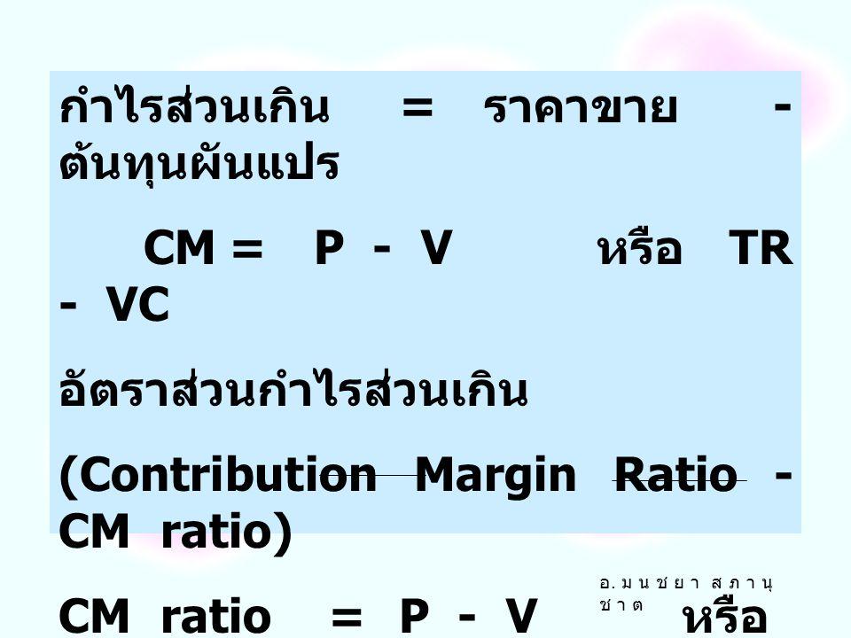 รายได้ ณ จุดคุ้มทุน = ปริมาณ ณ จุดคุ้มทุน x ราคาขาย TR* = Q* x P การคำนวณรายได้ ณ จุดคุ้มทุนโดย ใช้กำไรส่วนเกิน (Contribution Margin) กำไรส่วนเกินหมาย