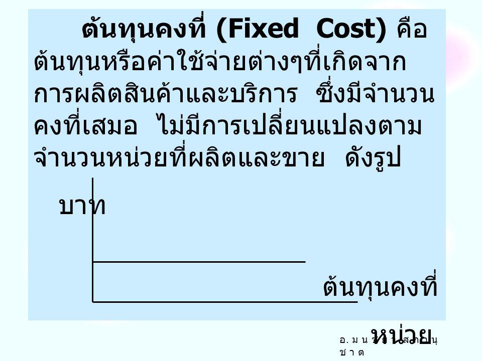 ต้นทุนคงที่ (Fixed Cost) คือ ต้นทุนหรือค่าใช้จ่ายต่างๆที่เกิดจาก การผลิตสินค้าและบริการ ซึ่งมีจำนวน คงที่เสมอ ไม่มีการเปลี่ยนแปลงตาม จำนวนหน่วยที่ผลิตและขาย ดังรูป บาท ต้นทุนคงที่ หน่วย อ.