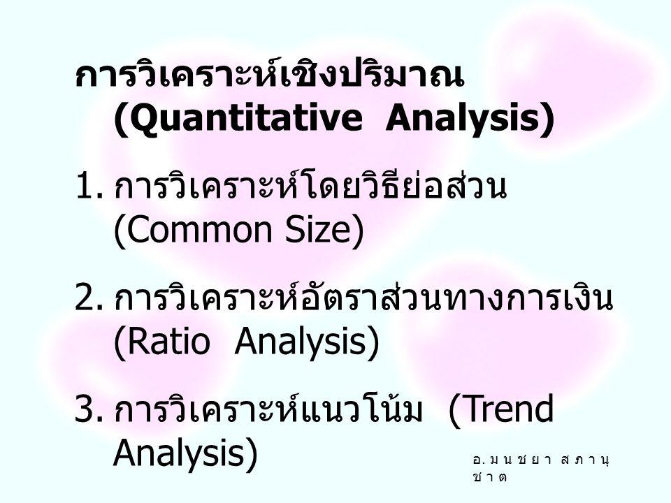 การวิเคราะห์เชิงปริมาณ (Quantitative Analysis) 1.การวิเคราะห์โดยวิธีย่อส่วน (Common Size) 2.
