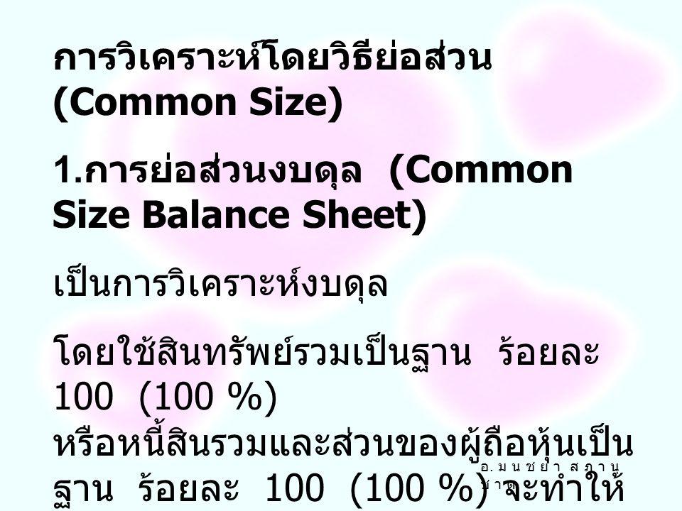 การวิเคราะห์เชิงปริมาณ (Quantitative Analysis) 1. การวิเคราะห์โดยวิธีย่อส่วน (Common Size) 2. การวิเคราะห์อัตราส่วนทางการเงิน (Ratio Analysis) 3. การว