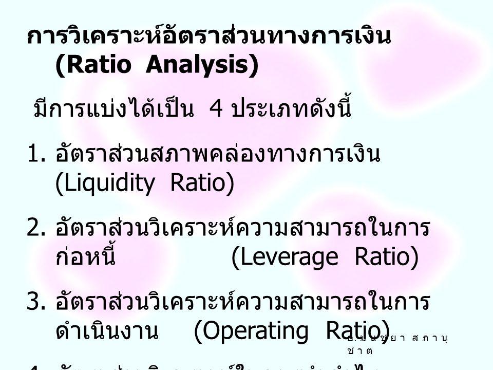 การวิเคราะห์อัตราส่วนทางการเงิน (Ratio Analysis) มีการแบ่งได้เป็น 4 ประเภทดังนี้ 1.
