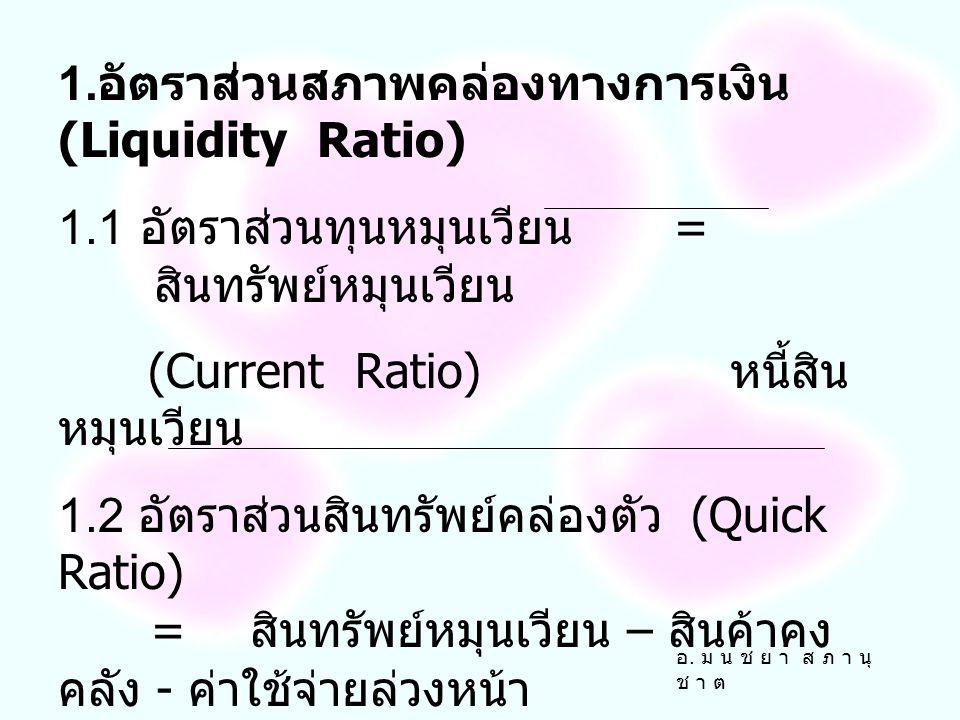 การวิเคราะห์อัตราส่วนทางการเงิน (Ratio Analysis) มีการแบ่งได้เป็น 4 ประเภทดังนี้ 1. อัตราส่วนสภาพคล่องทางการเงิน (Liquidity Ratio) 2. อัตราส่วนวิเคราะ