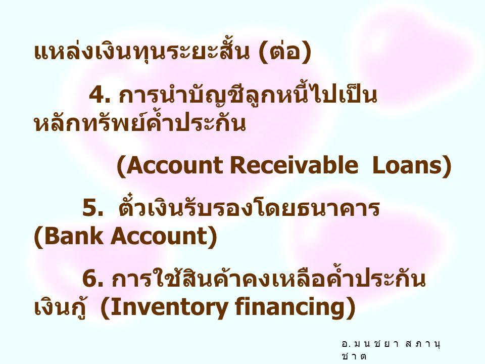 แหล่งเงินทุนระยะสั้น 3. เงินกู้ระยะสั้นจากธนาคาร (Short term finance by commercial bank) 3.1 เงินกู้ชนิดไม่มีหลักทรัพย์ค้ำประกัน ( Unsecured Loans ) 3